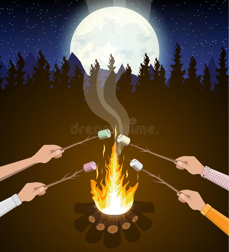 Feu avec la guimauve Rondins et feu illustration stock