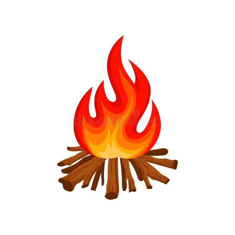 Feu brûlant avec du bois, illustration de vecteur du feu de camping sur un fond blanc illustration stock