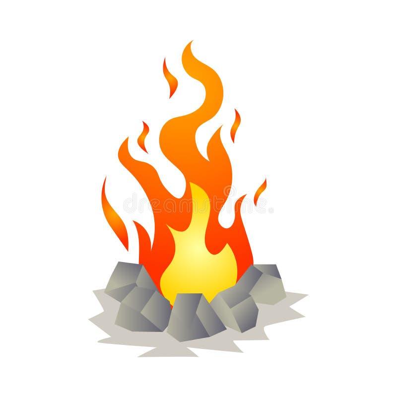 Feu chaud brûlant de flamme avec les pierres rondes dans la forêt illustration stock