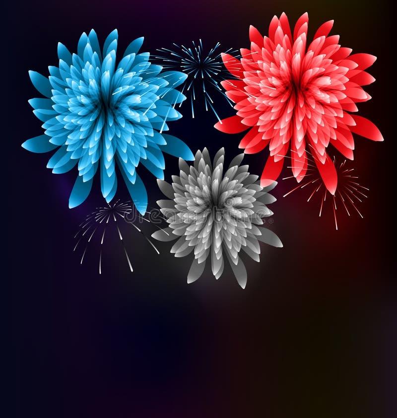Feu d'artifice Colorized d'illustration dans le drapeau USA pour l'événement de célébration illustration de vecteur