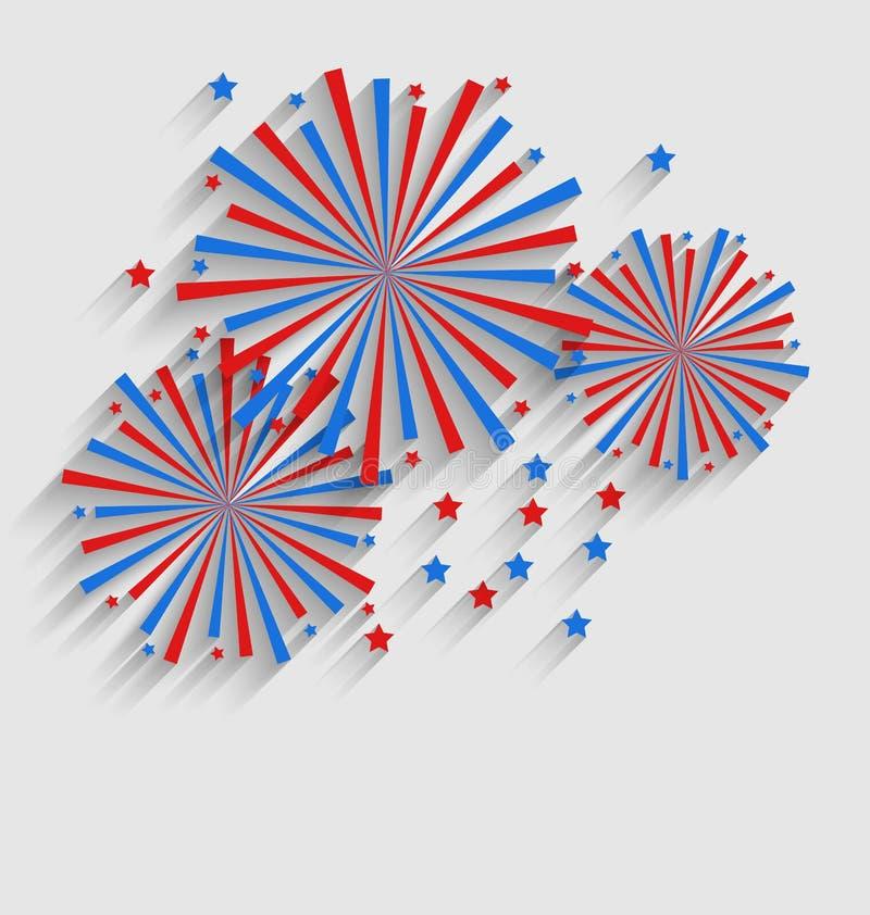Feu d'artifice Colorized dans le drapeau USA pour des événements de célébration illustration de vecteur