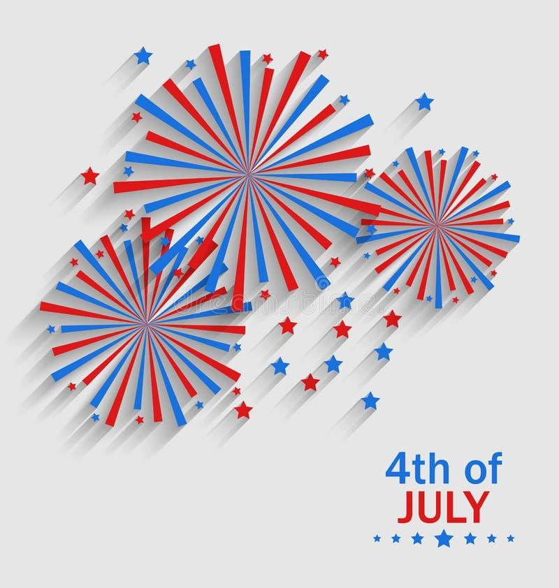 Feu d'artifice Colorized dans le drapeau USA pour le Jour de la Déclaration d'Indépendance de célébration illustration libre de droits