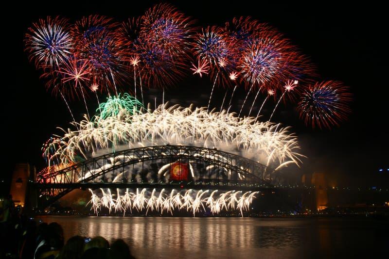 Feu d'artifice d'an neuf de Sydney images stock