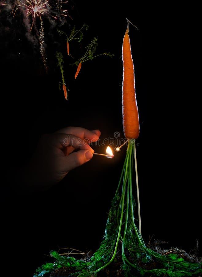 Feu d'artifice de carotte image libre de droits
