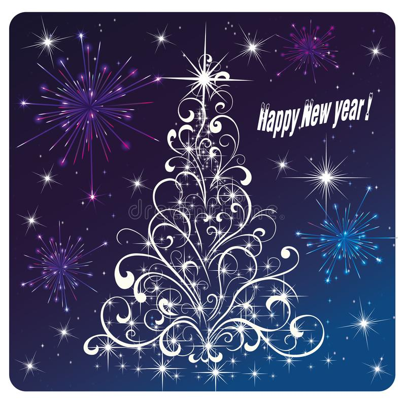 Feu d'artifice et feux d'artifice de bonne année de carte illustration libre de droits