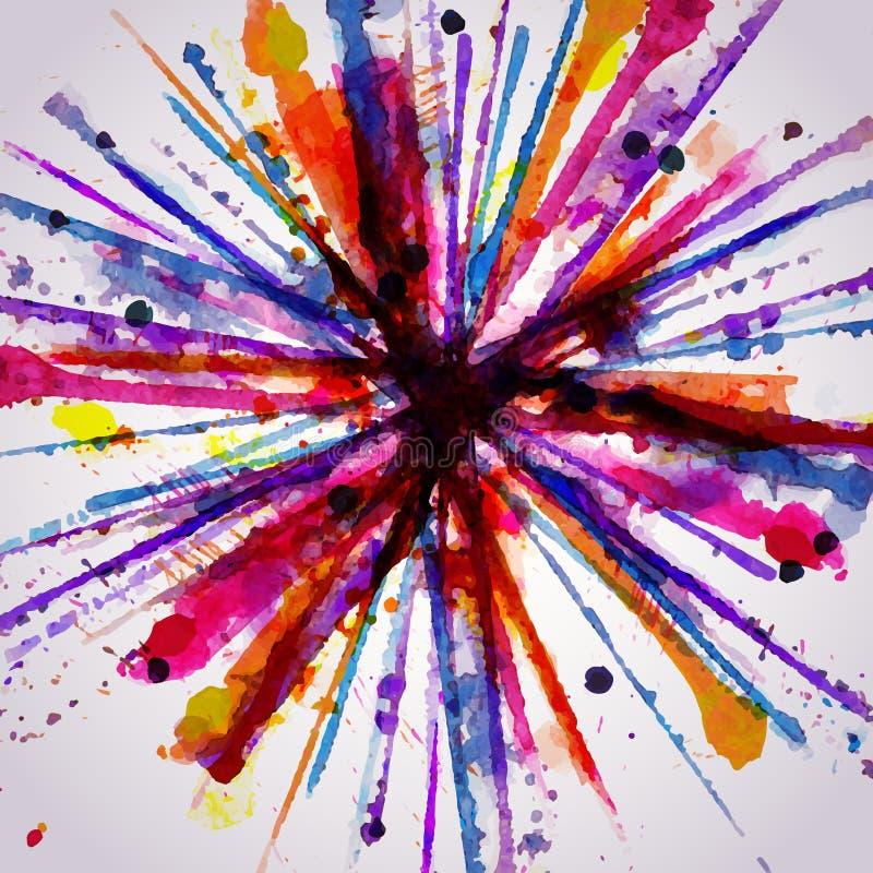 Feu d'artifice tiré par la main abstrait de fond d'aquarelle, illus de vecteur illustration de vecteur