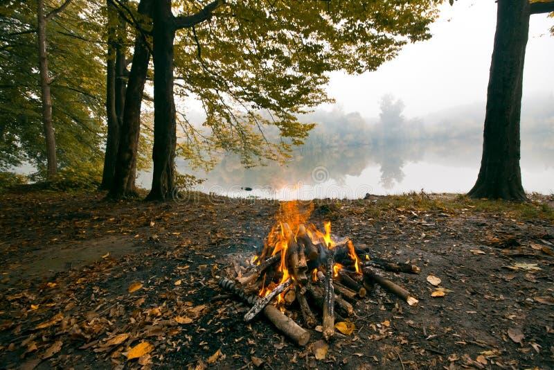 Feu dans la forêt sur la banque du lac, soirée froide d'automne, vue panoramique photographie stock