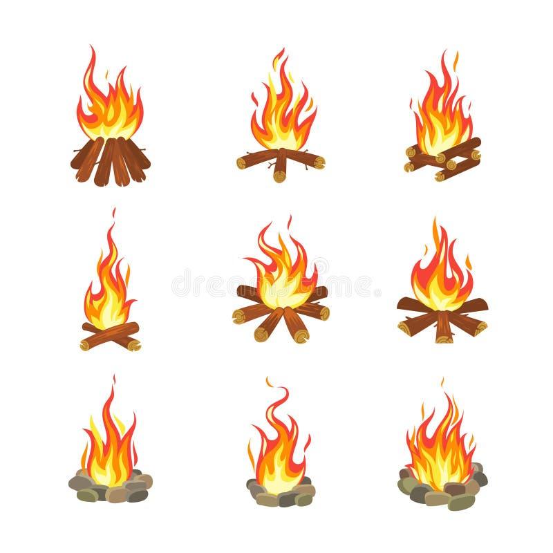 Feu de bande dessinée Les feux de camp de touristes d'été flambent, cheminée de torche de bois de chauffage brûlant le vecteur pl illustration de vecteur
