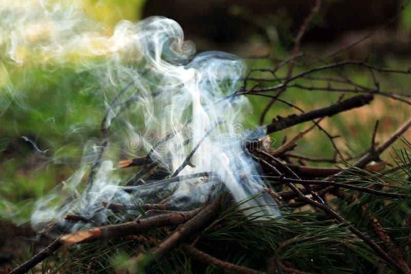 Feu de camp avec de la fumée photographie stock libre de droits