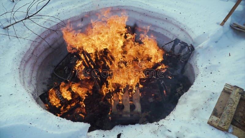 Feu de camp isolé brûlant dans la soirée froide d'hiver clip Le feu de camp brûle dans la neige dans les bois, sur un fond de nei image libre de droits