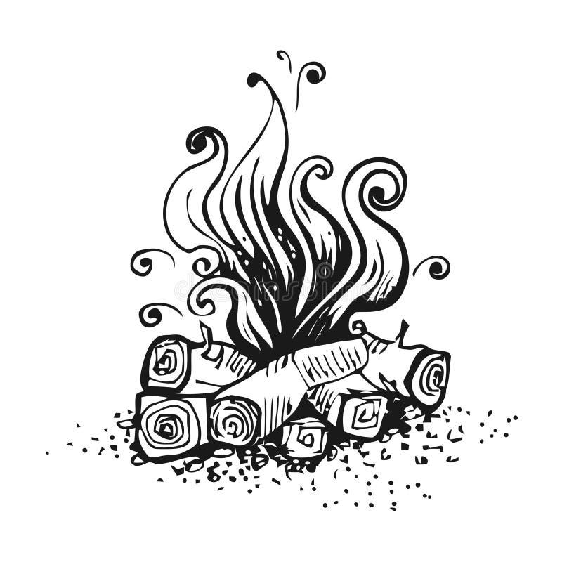 Feu de camp, le feu au-dessus des rondins en bois Illustration graphique noire et blanche de vecteur, d'isolement sur le blanc illustration de vecteur