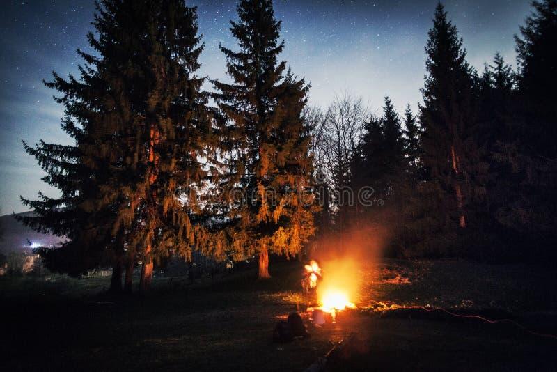 Feu de camp pendant la nuit images libres de droits