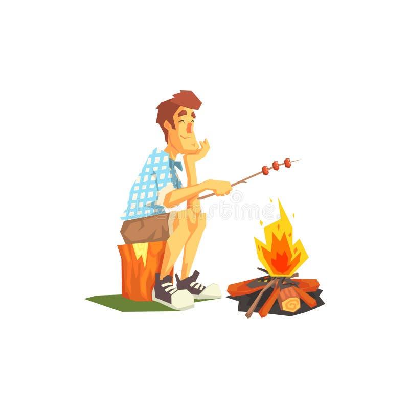 Feu de Guy Frying Meat On Camp illustration de vecteur