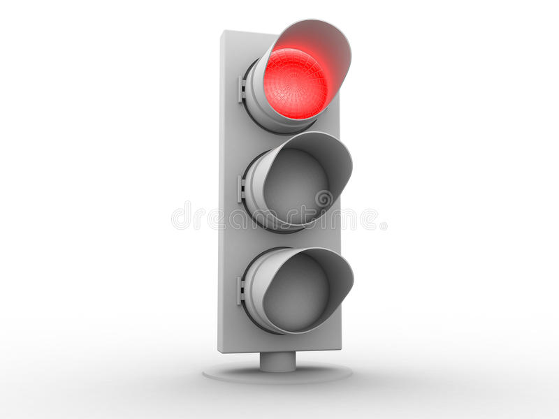 feu de la signalisation 3d blanc avec une lumière rouge illustration libre de droits