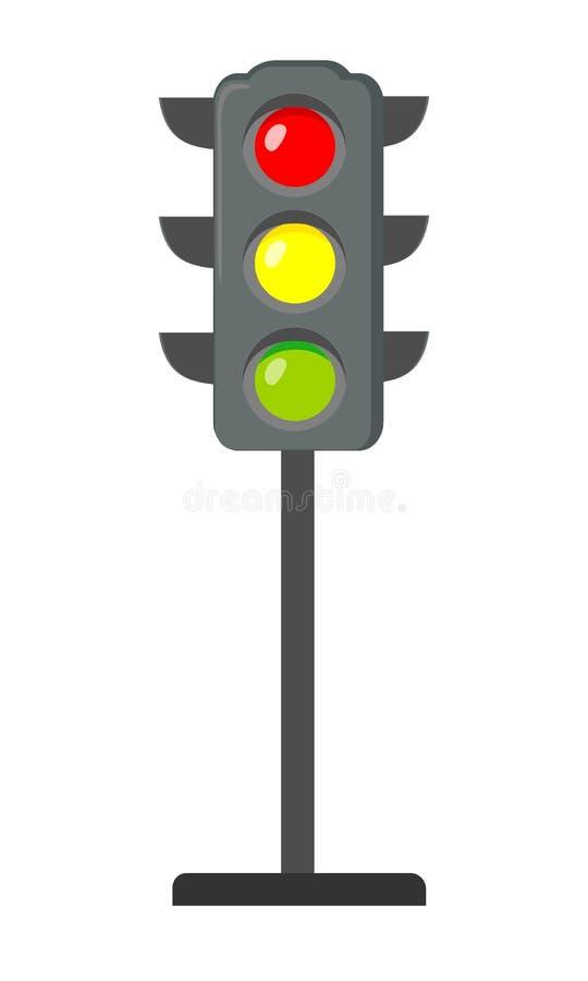 Feu de signalisation de bande dessinée d'icône Signaux avec la lumière rouge au-dessus du jaune et du vert D'isolement sur le fon illustration de vecteur