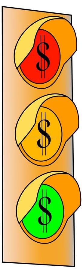 Feu de signalisation de signe du dollar 2 illustration de vecteur