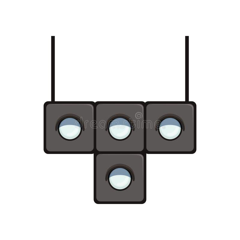 feu de signalisation en forme de t avec les lampes blanches pour commander le mouvement des trams Équipement de route pour le mou illustration stock