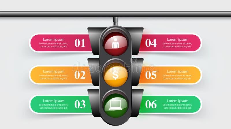 Feu de signalisation infographic Six articles illustration libre de droits