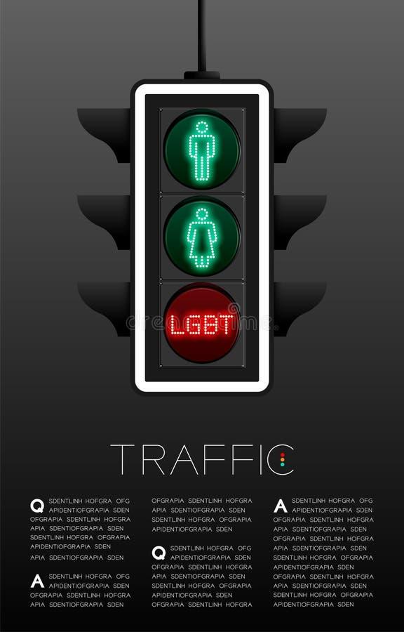 Feu de signalisation de LED avec le signe de genre, diversit? de sexualit? ; Illustration de conception de disposition de calibre illustration stock