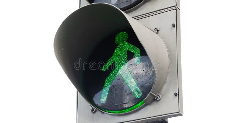 Feu de signalisation piétonnière vert d'isolement images stock