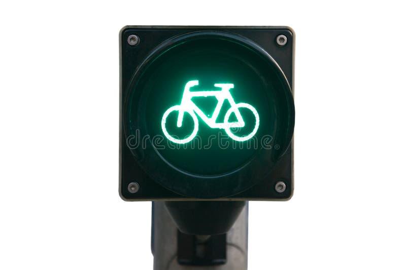 Feu de signalisation pour des bicyclettes d'isolement image libre de droits