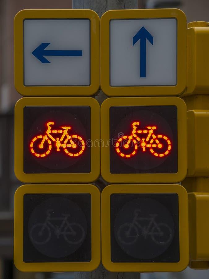 Feu de signalisation pour des bicyclettes photos libres de droits