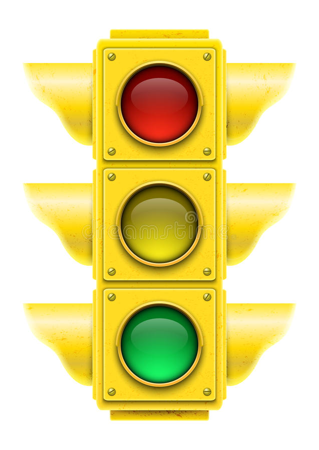 Feu de signalisation réaliste. illustration stock