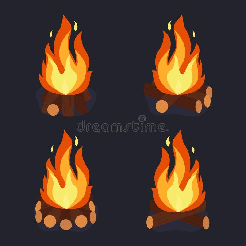 Feu et tas de bois brûlant illustration libre de droits
