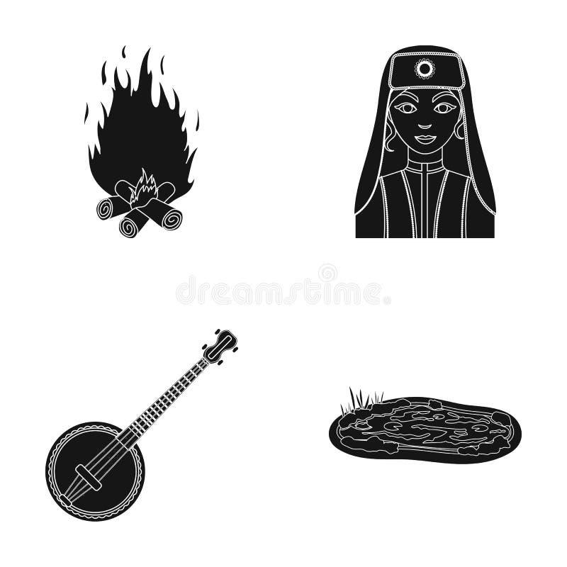 Feu, femme turque et toute autre icône de Web dans le style noir banjo, icônes de lac dans la collection d'ensemble illustration stock