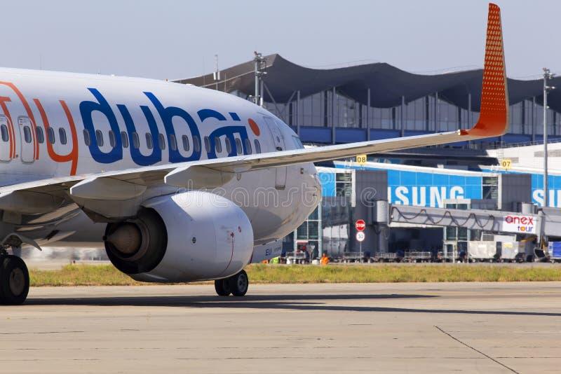 A6-FEU flydubai Boeing 737-800 aircraft running to the Borispol International Airport parking. Borispol, Ukraine - September 10, 2019: A6-FEU flydubai Boeing 737 stock photo