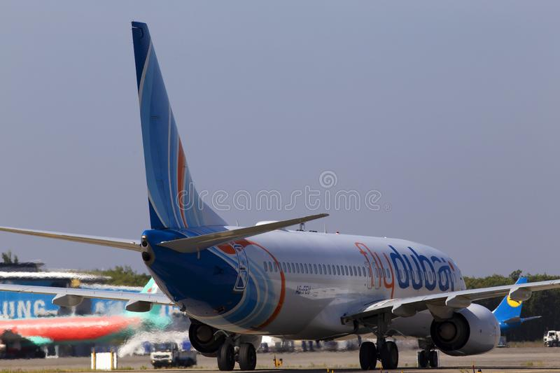 A6-FEU flydubai Boeing 737-800 aircraft running to the Borispol International Airport parking. Borispol, Ukraine - September 10, 2019: A6-FEU flydubai Boeing 737 royalty free stock images