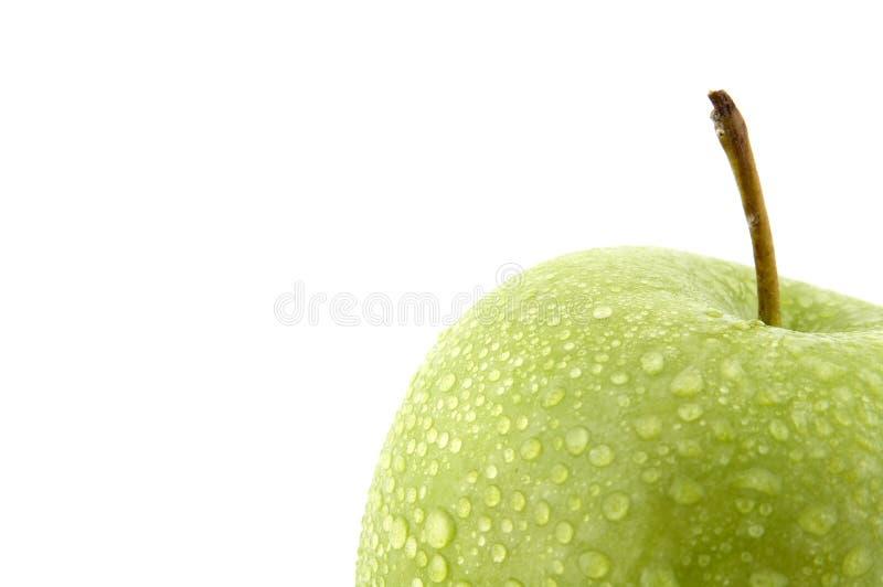 Feuchter grüner Apfel lizenzfreie stockfotos