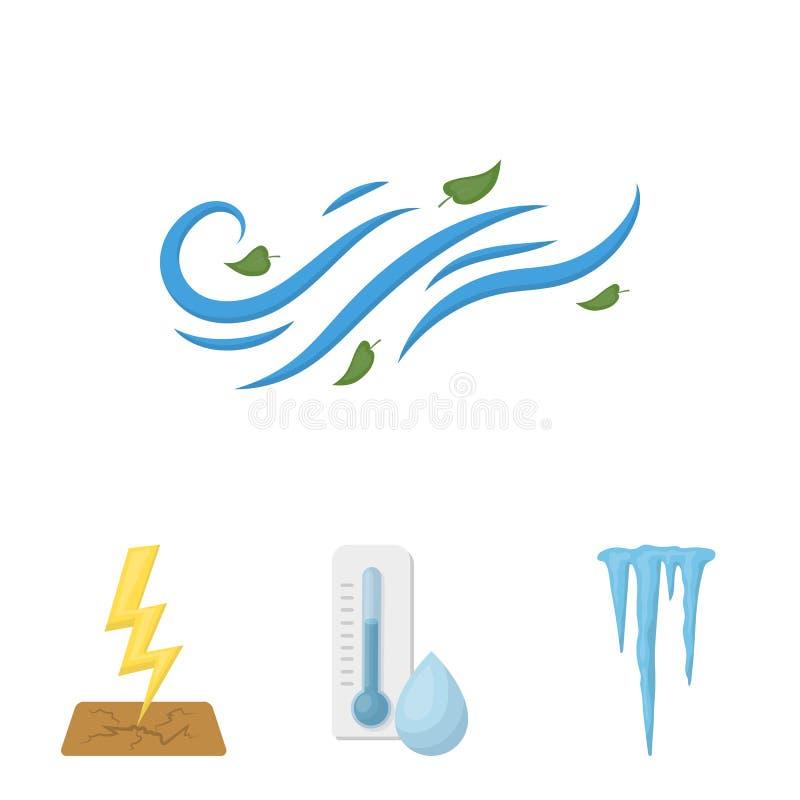 Feuchtigkeit, Eiszapfen, Blitz, windiges Wetter Vector gesetzte Sammlungsikonen des Wetters in der Karikaturart Symbolvorrat lizenzfreie abbildung