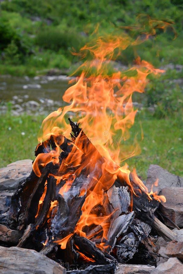 Feuer auf der Flussbank stockbilder