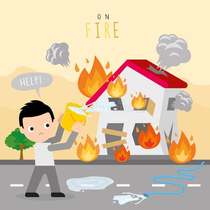 Feuer-Brand-Haus-Hauptjungen-Gefahrenhilfszeichentrickfilm-figur-Vektor lizenzfreie abbildung
