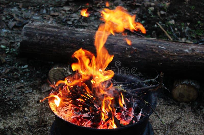 Feuer, durch das Feuer wärmend, eine Flamme lizenzfreies stockfoto