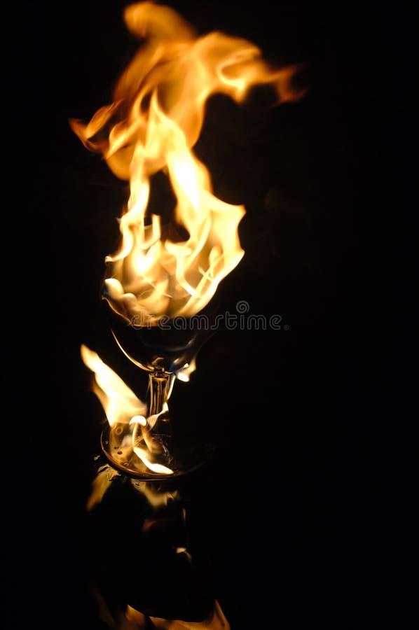 Feuer in einem Glas stockbilder