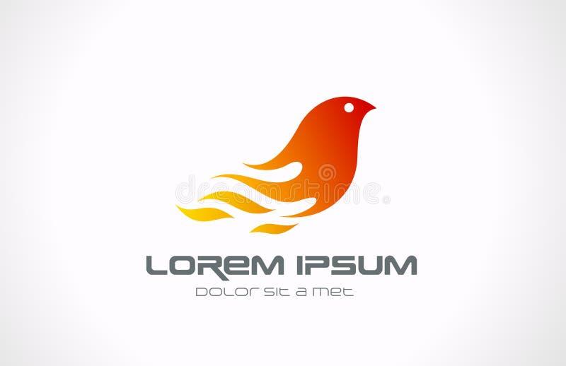 Logo-Feuer-Flammen-Vogelzusammenfassungsikone. Phoenix concep stock abbildung