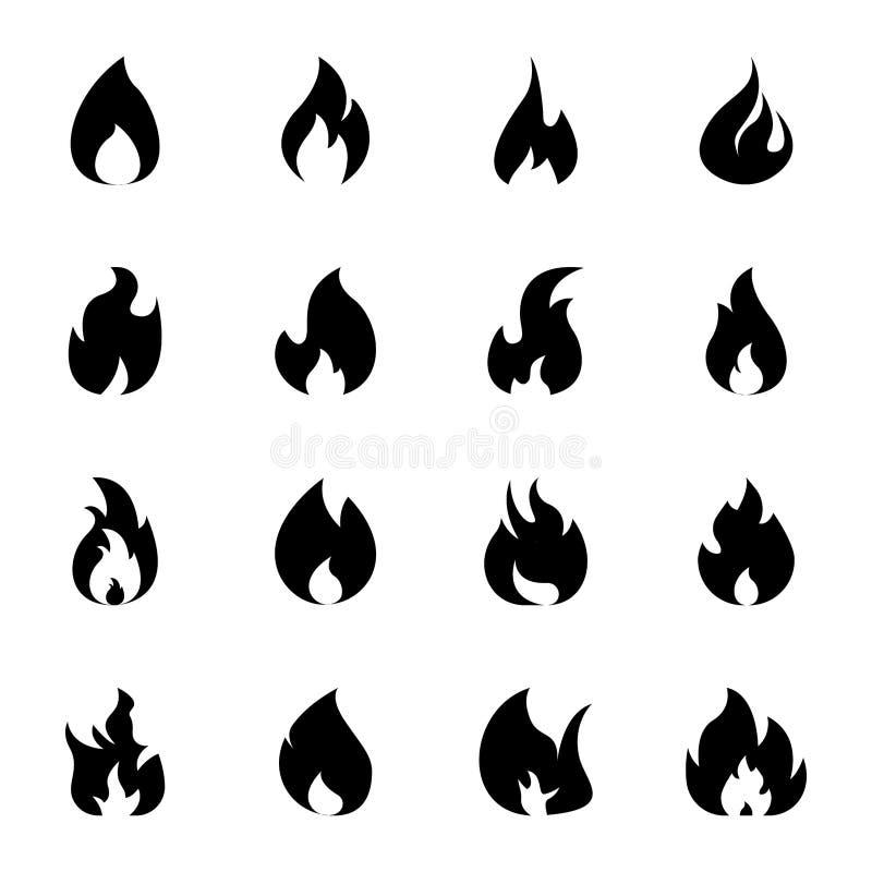 Feuer-Flammenkörperikonen lizenzfreie abbildung