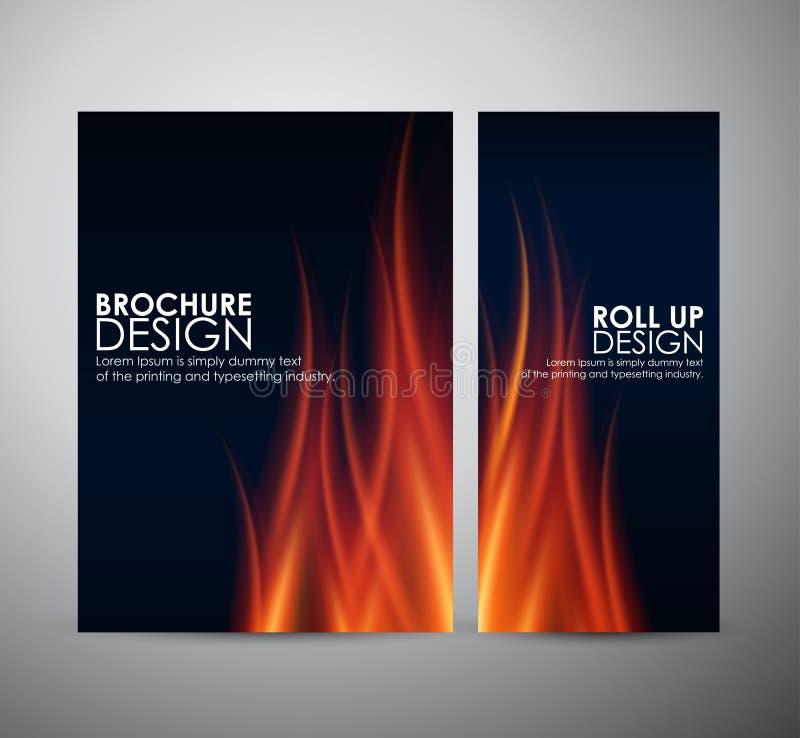 Feuer flammt Hintergrund Broschürengeschäftsdesignschablone oder rollen oben stock abbildung