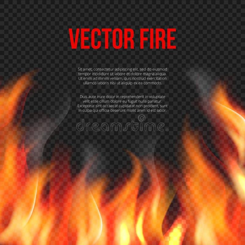 Feuer getrennt auf Schwarzem Licht der glühenden Flamme auf transparenter Hintergrundvektorexplosions-Vektorschablone stock abbildung