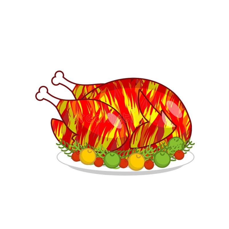 Feuer-Hahnjahr 2017 Gebratenes Hahnsymbol des neuen Jahres Gebratenes C stock abbildung