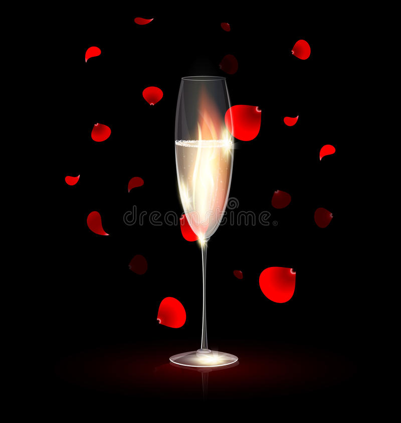 Feuer im Glas des Champagners lizenzfreie abbildung