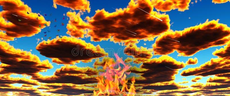 Feuer im Himmel stock abbildung