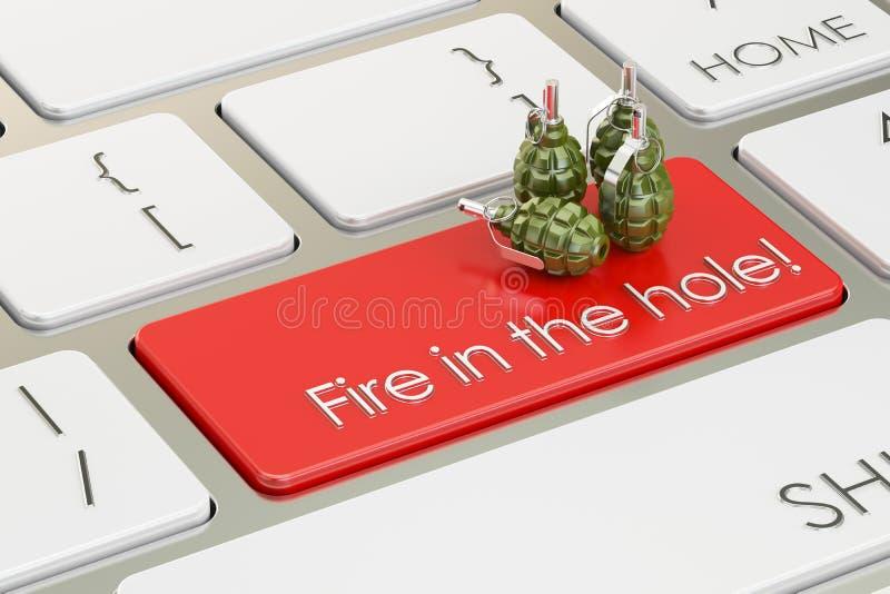 Feuer im Lochkonzept, auf der Computertastatur Wiedergabe 3d lizenzfreie abbildung