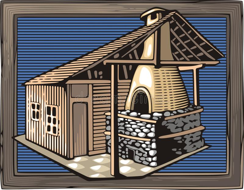 Feuer Oven Vector Illustration in der Holzschnitt-Art vektor abbildung