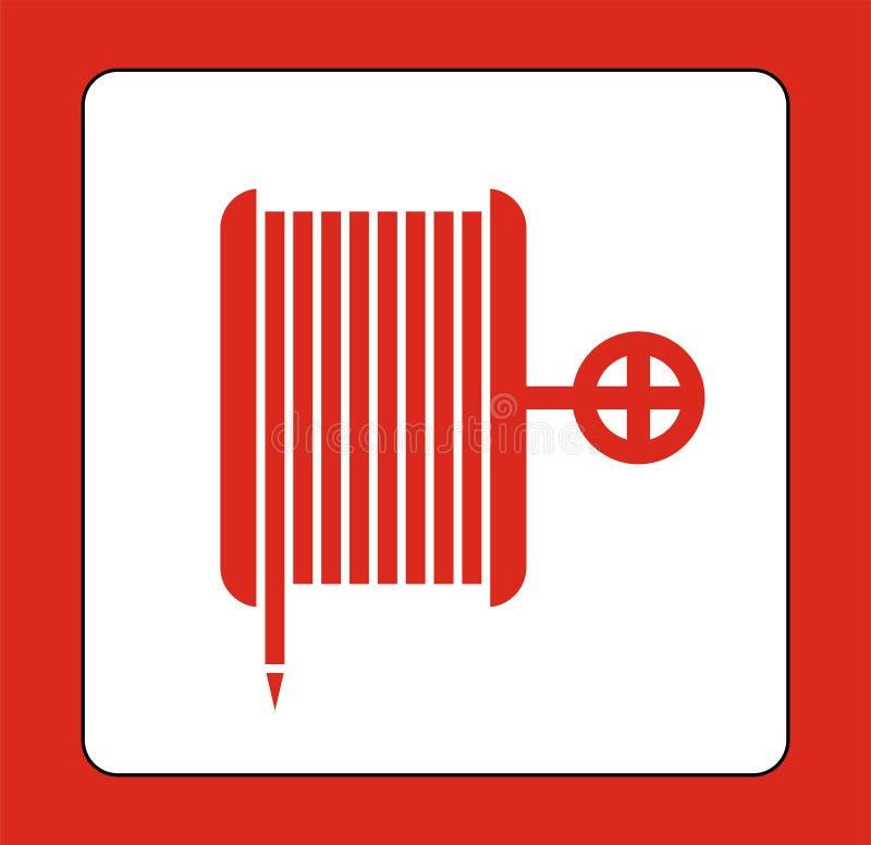 Feuer-Spulen-Schlauch-Boden-Zeichen auf wei?em Hintergrund, Vektorillustration stock abbildung