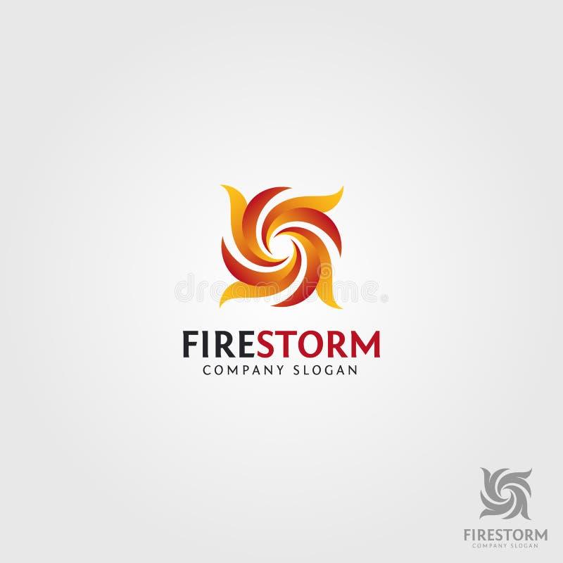 Feuer-Sturm Logo Template stock abbildung