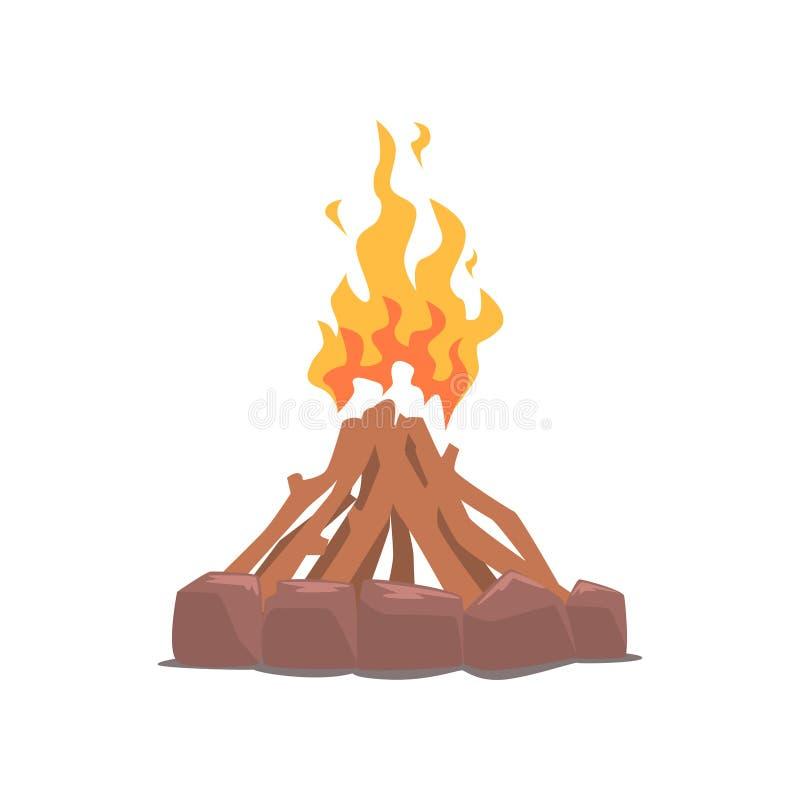 Feuer umgeben mit Steinkarikatur-Vektor Illustration lizenzfreie abbildung