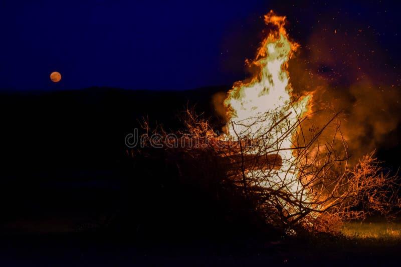 Feuer und Vollmond lizenzfreie stockfotos